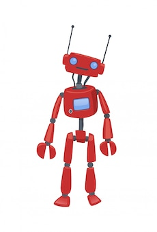 Cute humanoid robot, android with artificial intelligence. cartoon  illustration,  on white background.