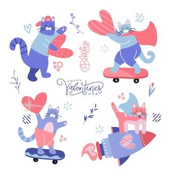 귀여운 유머 만화 삽화는 십대 고양이와 하트로 설정합니다. 발렌타인, 사랑, 비탄.