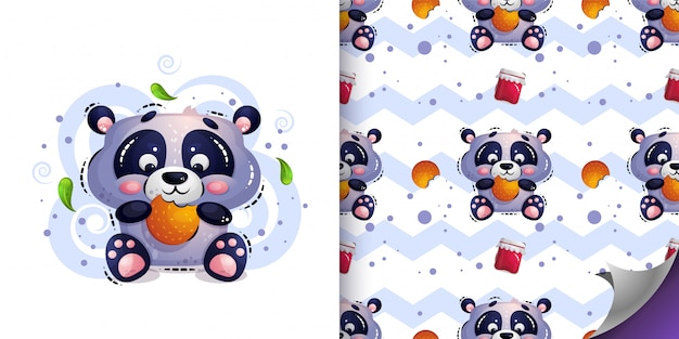 Cute hungry panda bear sits and eats cookies.