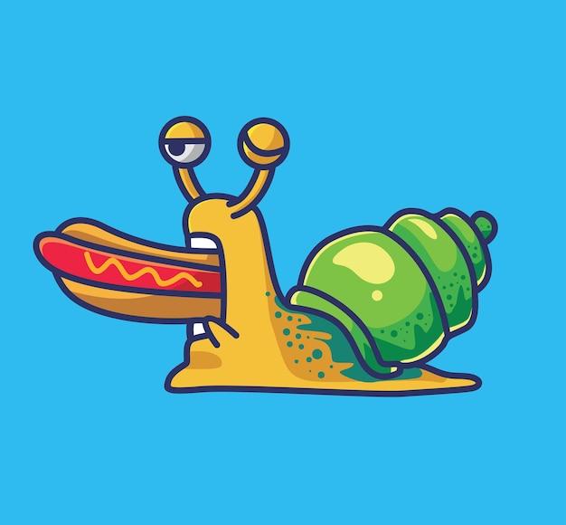 핫도그를 먹는 귀여운 배고픈 달팽이 동물 고립 된 만화 평면 스타일 아이콘 일러스트 프리미엄 벡터