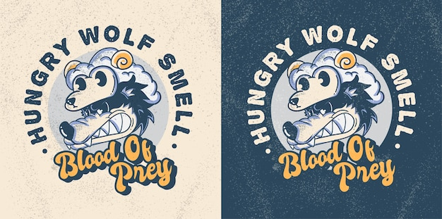 Cute hungry wolf vintage cartoon style illustration