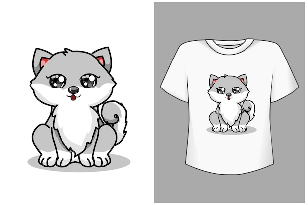Cute husky cartoon illustration