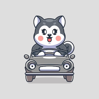 車の漫画を運転するかわいいハスキー犬