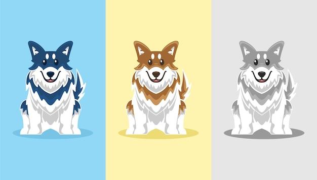 かわいいハスキー犬のアイコン漫画セットイラスト