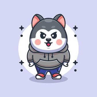 かわいいハスキー犬のマスコットデザイン