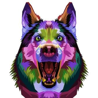 ポップなアートスタイルのイラストのかわいいハスキー犬。