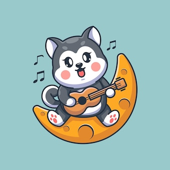 月でギターを弾くかわいいハスキー犬
