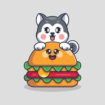 大きなチーズ ハンバーガー漫画のかわいいハスキー犬