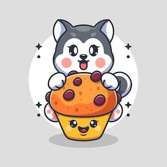 カップケーキの漫画でかわいいハスキー犬
