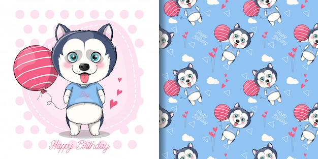 Cute husky puppy with balloon