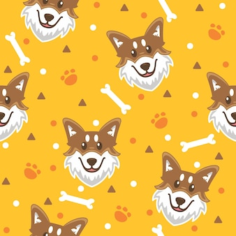 Cute husky with paw pattern illustrations