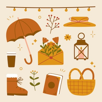 Cute hygge autumnal scrapbook home cozy elements for party, harvest festival or thanksgiving day. hat umbrella flowers envelope candle lantern picnic basket books coffee shoes hanging light