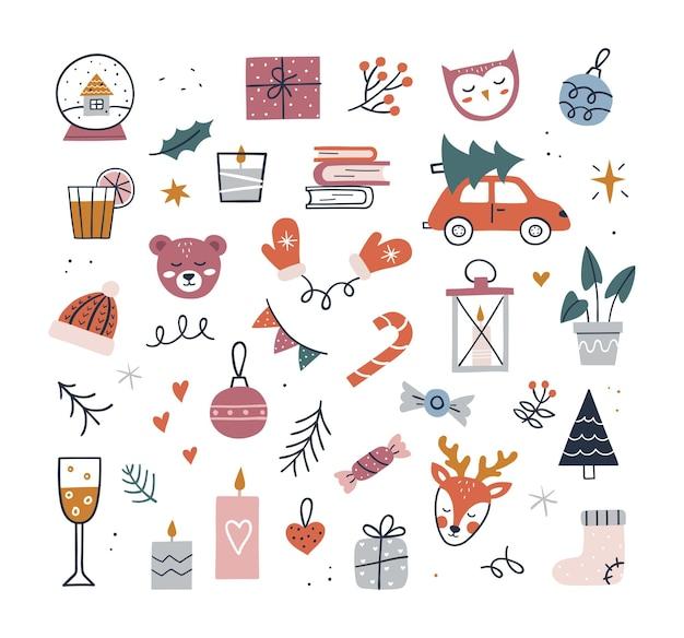 かわいいヒュッゲのクリスマスセット-キャップ、キャンドル、ツリー、ギフト、ミトン、鹿。手描きのベクトル図です。居心地の良い冬の要素のコレクション。