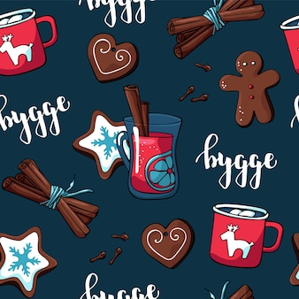 Cute hygge pattern for fabric and paper with christmas elements and cozy things
