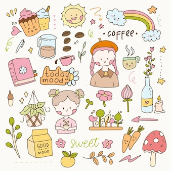 Cute hygge sticker bunny and little girl aesthetic flat vector. hand drawn icon planner collection set.