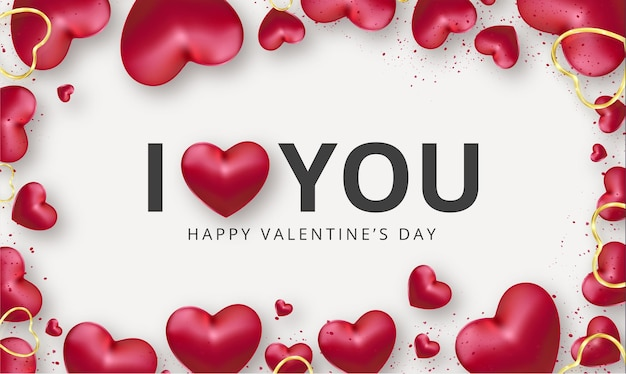 Cute i love you background with realistic red hearts for valentine's day