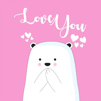 Cute ice bear cartoon hand drawn style for valentine