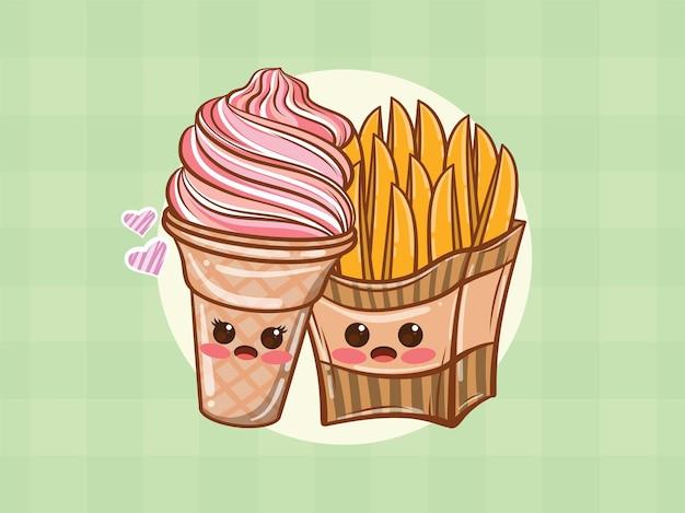 귀여운 아이스크림과 감자 튀김 몇 개념. 만화