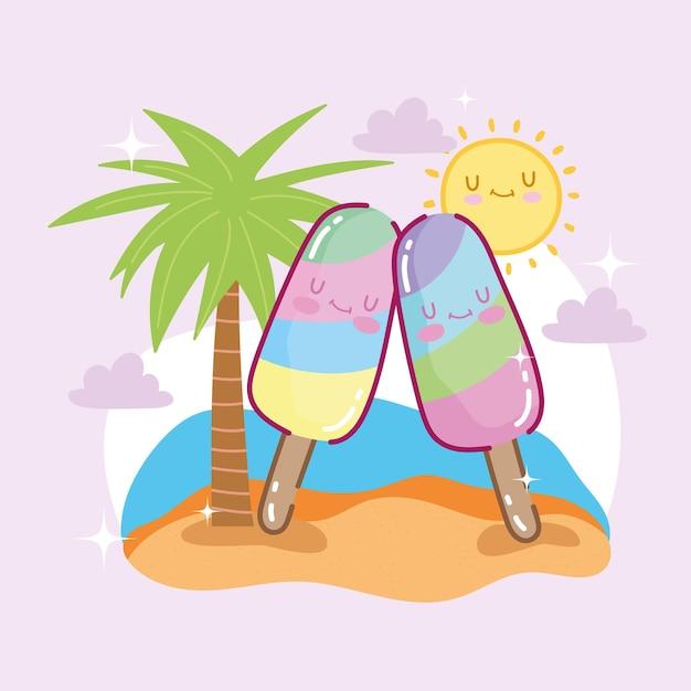 Cute ice cream on beach