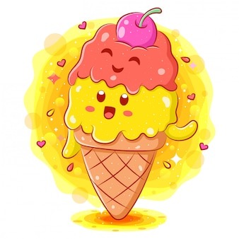Cute ice cream cartoon character