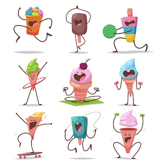 Cute ice cream characters doing fitness and yoga exercises cartoon set isolated on a white background.