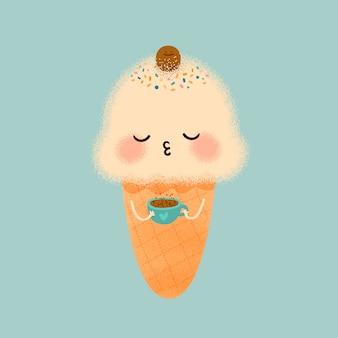 Cute ice cream and coffee
