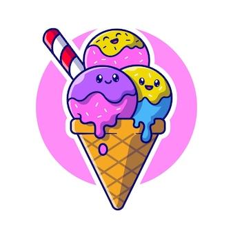 귀여운 아이스크림 콘 만화 벡터 아이콘 그림입니다. 음식 음료 아이콘 개념 절연 프리미엄 벡터입니다. 플랫 만화 스타일