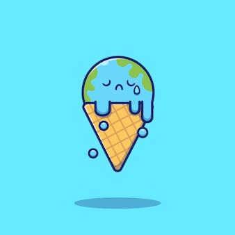 かわいいアイスクリーム地球溶融漫画アイコンイラスト。食品と自然アイコンのコンセプトが分離されました。フラット漫画スタイル