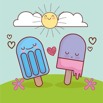 Cute ice cream in grass cartoon