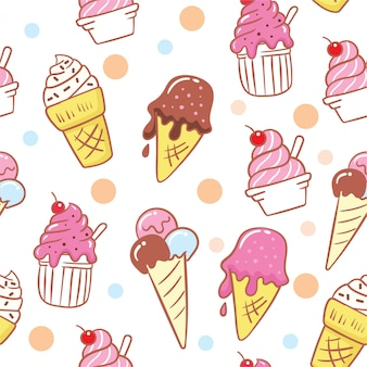 かわいいアイスクリーム手描き下ろしシームレスパターン
