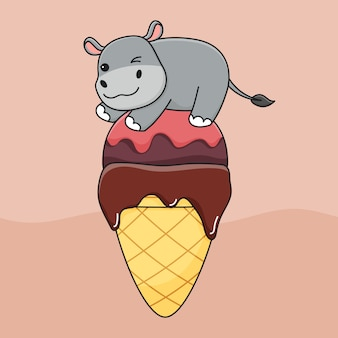 Cute ice cream hippo