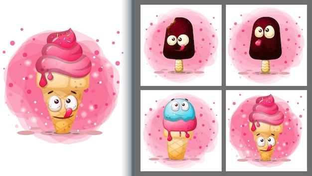 Милый набор иллюстраций мороженого и персонаж плаката.