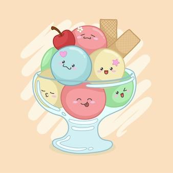 유리 그릇에 귀여운 아이스크림