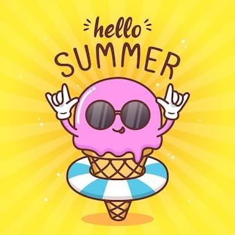夏休みのかわいいアイスクリーム Premiumベクター