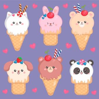Cute ice cream kawaii with animals set