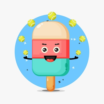 Cute ice cream mascot playing tennis ball