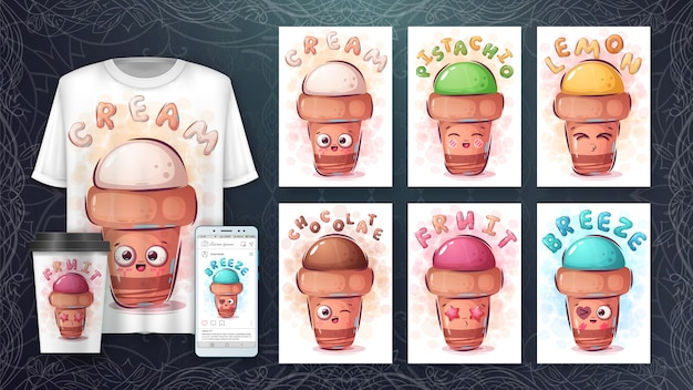 かわいいアイスクリーム-ポスターとマーチャンダイジング