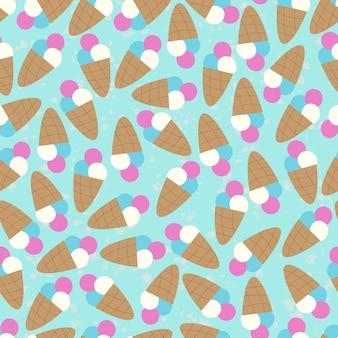 かわいいアイスクリームのシームレスなパターン。壁紙、布、紙、アイスクリームのパッケージ、ノートの表紙、アルバム、裁縫用の布に印刷します。ベクトルイラスト、手描き