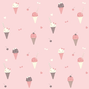 Cute ice cream seamless pattern