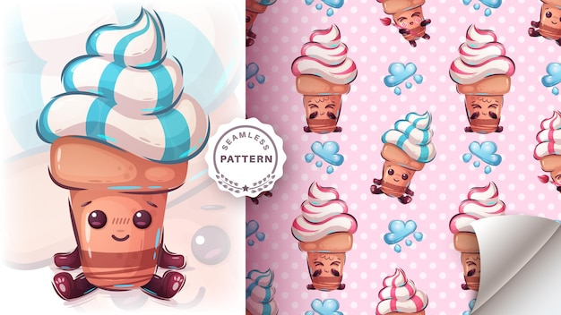 かわいいアイスクリームのシームレスなパターン
