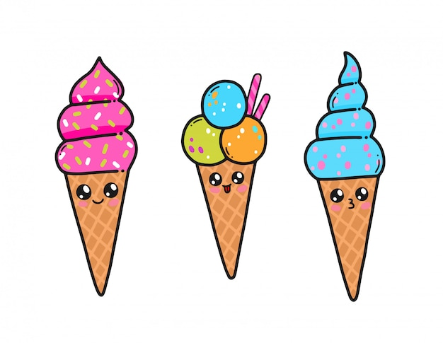 Cute ice cream set in japan kawaii style. happy ice cream cartoon characters with funny faces isolated