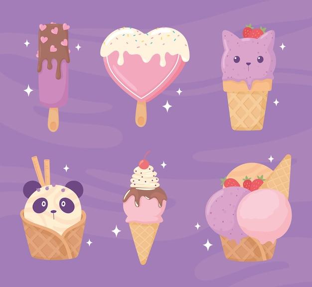 귀여운 아이스크림 세트
