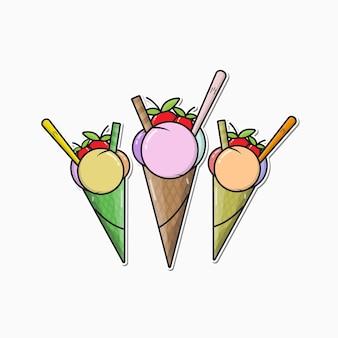 여자 만화 벡터에 대 한 귀여운 아이스크림 스티커