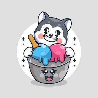 ハスキー犬の漫画のかわいいアイスクリーム