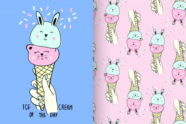 Cute ice cream with pattern vector set