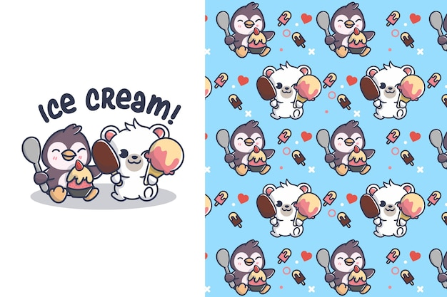 Cute ice cream with polar and penguin seamless pattern