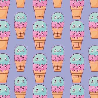 Cute ice creams kawaii characters pattern