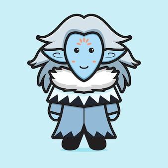 かわいい氷のエルフのマスコットキャラクター漫画ベクトルアイコンイラストフィクションアイコンの概念