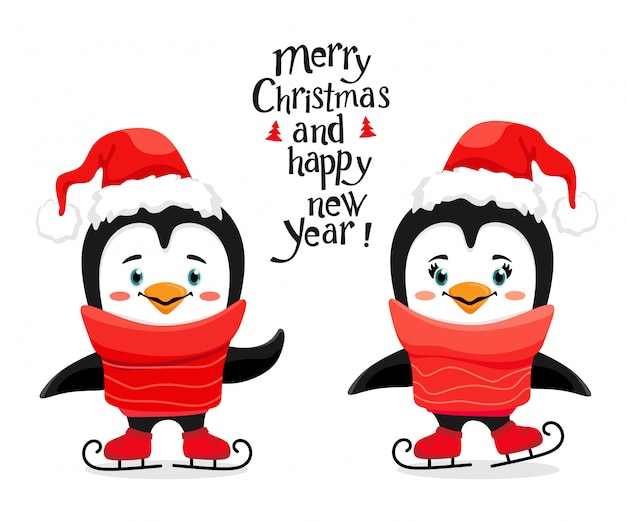 Cute ice skating penguins with a santa hat in a cartoon style.
