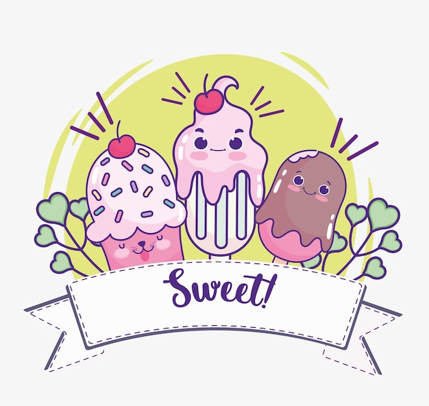 Милый кекс с мороженым и молочным коктейлем